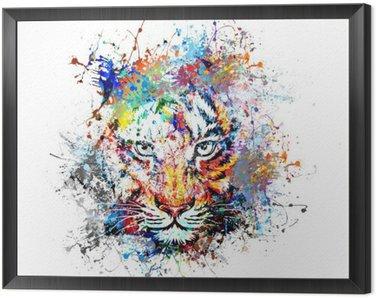 Framed Canvas яркий фон с тигром