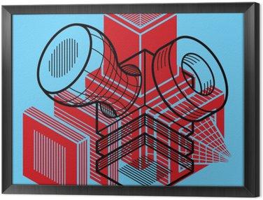 Framed Canvas 3D design, abstract vector dimensional cube shape.