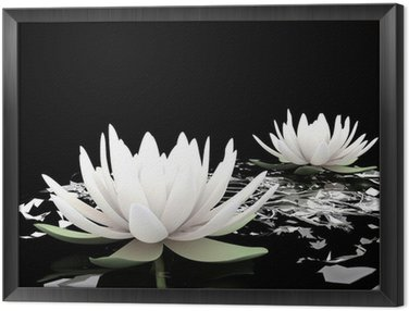 Framed Canvas 3d lotus on water