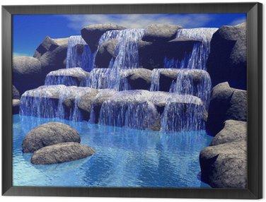 Framed Canvas 3d waterfall