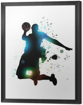 Abstract Basketball Player Framed Canvas