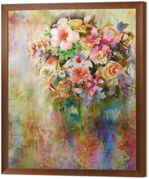 Abstract colorful flowers watercolor painting. Spring multicolored