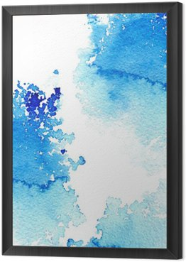 Abstract dark blue watery frame.Aquatic backdrop.Ink drawing.Watercolor hand drawn image.Wet splash.White background. Framed Canvas