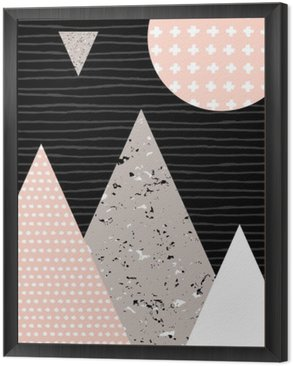 Framed Canvas Abstract Geometric Landscape
