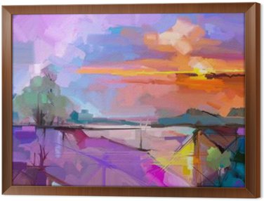 Framed Canvas Abstract oil painting landscape background. Artwork modern oil painting outdoor landscape. Semi- abstract of tree, hill with sunlight (sunset), colorful yellow - purple sky. Beauty nature background