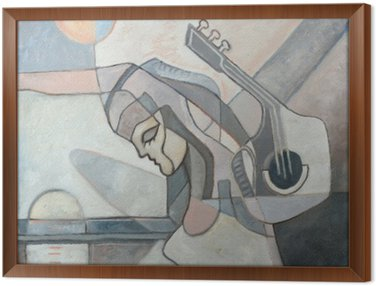 Framed Canvas Abstract Painting With Woman and Guitar