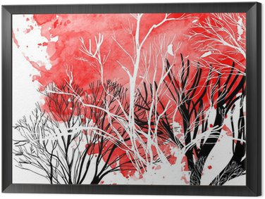 Framed Canvas Abstract silhouette of trees