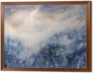 Framed Canvas Abstract texture snowy blizzard winter watercolor painted.