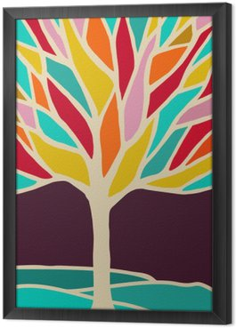 Abstract tree illustration with colorful branches Framed Canvas