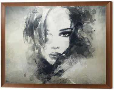Framed Canvas abstract woman portrait