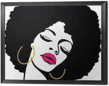 Framed Canvas afro hair hippie woman pop art