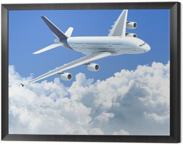 Framed Canvas airplane flying over the clouds with clipping path for isolation