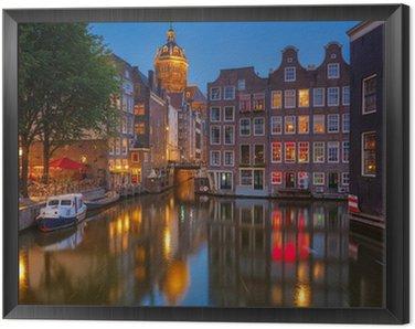 Amsterdam at night Framed Canvas