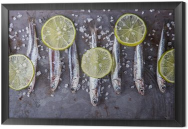 Anchovy Fresh Marine Fish.Appetizer. selective focus. Framed Canvas