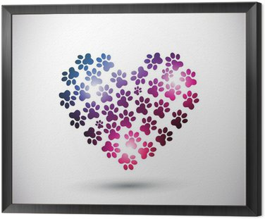 Framed Canvas animal love, abstract paw print logo