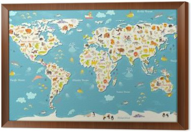 Animals World Map Beautiful Cheerful Colorful Vector Illustration - Continents of the world for kids