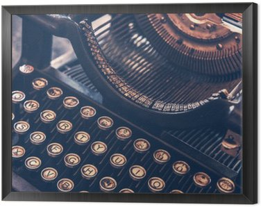 Framed Canvas Antique Typewriter