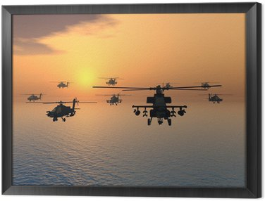 Framed Canvas Apache Helicopter