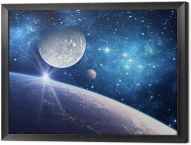 Framed Canvas Background with a Planet, Moon and Star