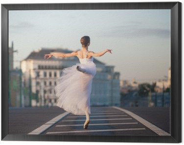 Framed Canvas Ballerina dancing in the center of Moscow in the morning