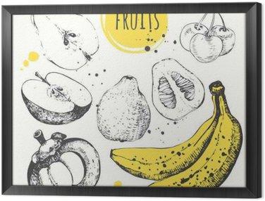 Banana, mangosteen, apple, bergamot. Hand drawn set with fresh food.