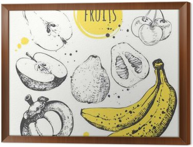 Framed Canvas Banana, mangosteen, apple, bergamot. Hand drawn set with fresh food.