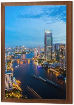 Bangkok Skyline downtown River Framed Canvas