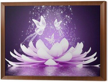 Framed Canvas Beautiful lotus flower