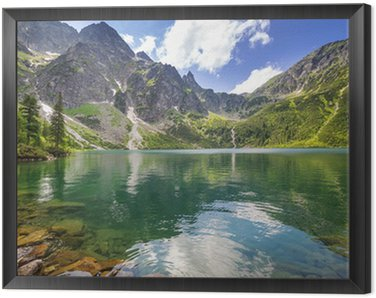 Framed Canvas Beautiful scenery of Tatra mountains and lake in Poland