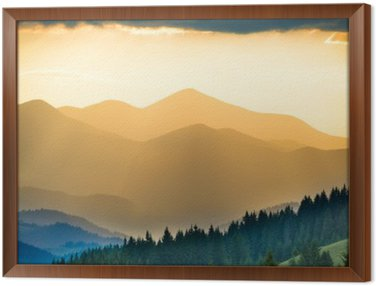 Framed Canvas Beautiful sunset in the mountains