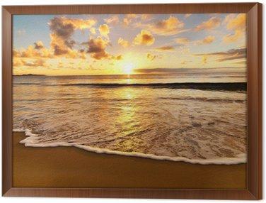 beautiful sunset on the beach Framed Canvas