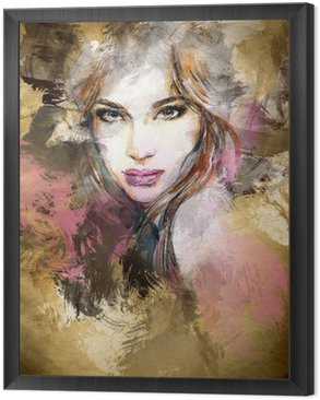 Framed Canvas Beautiful woman face. watercolor illustration