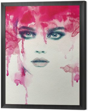 Beautiful woman. watercolor illustration Framed Canvas