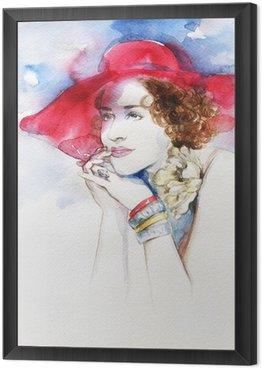 Framed Canvas Beautiful woman . watercolor illustration