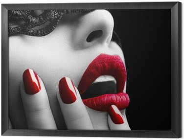 Beautiful Woman with Black Lace mask over her Eyes Framed Canvas