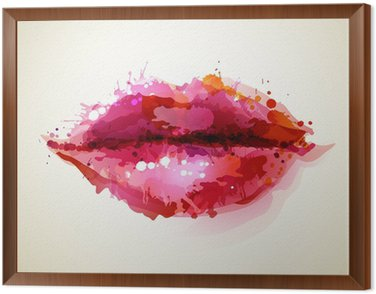 Framed Canvas Beautiful womans lips formed by abstract blots