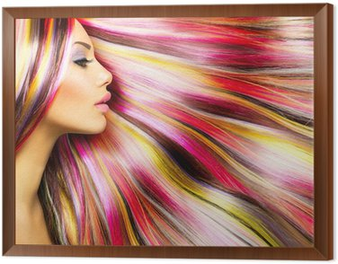 Framed Canvas Beauty Fashion Model Girl with Colorful Dyed Hair