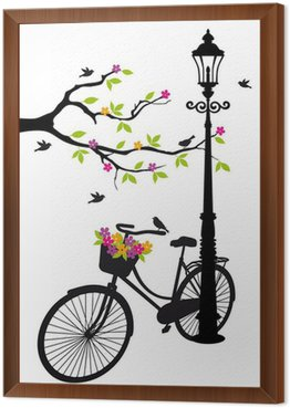 Framed Canvas bicycle with lamp, flowers and tree, vector