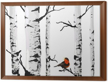 Framed Canvas Bird of birches, vector drawing with editable elements.