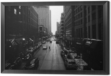Black and White Chicago Streets Framed Canvas