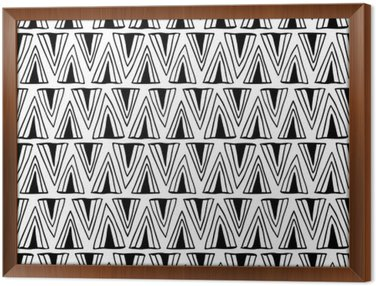 Black and white seamless pattern with triangles.