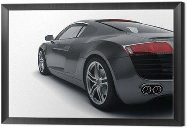 Framed Canvas Black Sports Car