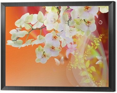 Bloom Spring beautiful Japanese Exotic Flowers.Floral Card Framed Canvas