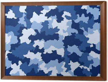 Blue camouflage seamless pattern