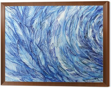 blue feathers in a circle, watercolor abstract background