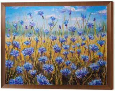 Framed Canvas Blue flowers field oil painting.