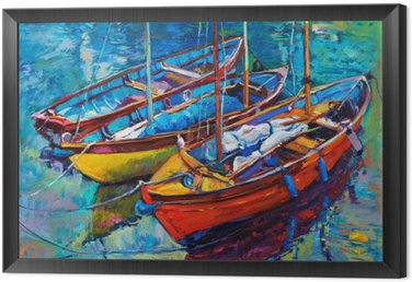 Framed Canvas Boats