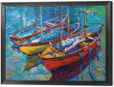 Boats Framed Canvas