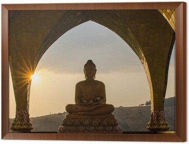 Framed Canvas Buddha in sun set time