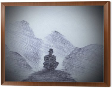 Framed Canvas Buddhist monk in the mountains